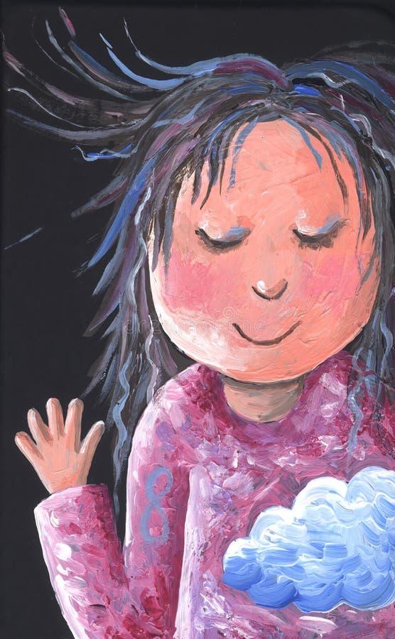 Little Girl says hi - artistic. Acrylic illustration on black background of Little Girl says hi - artistic stock illustration