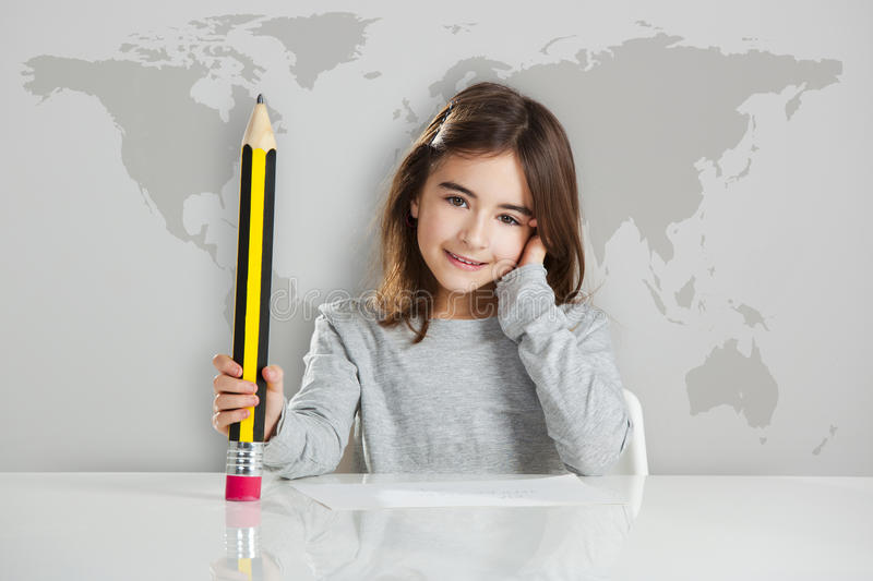Little Girl In The School Royalty Free Stock Images