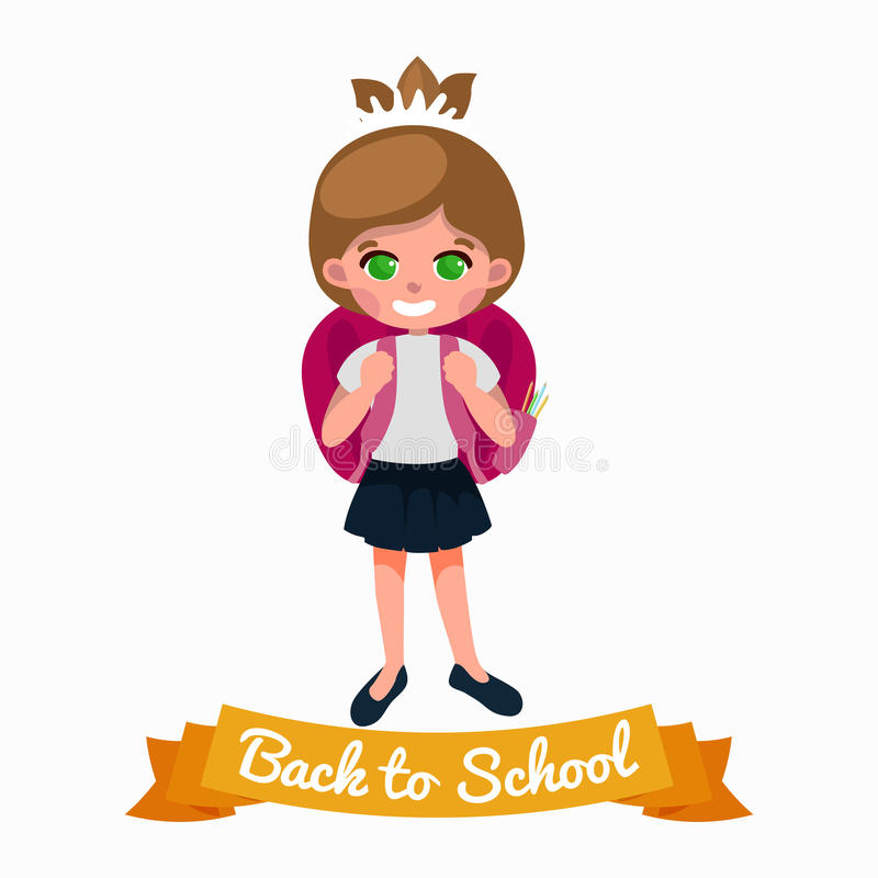 Little girl with school backpack and books, back to concept royalty free illustration