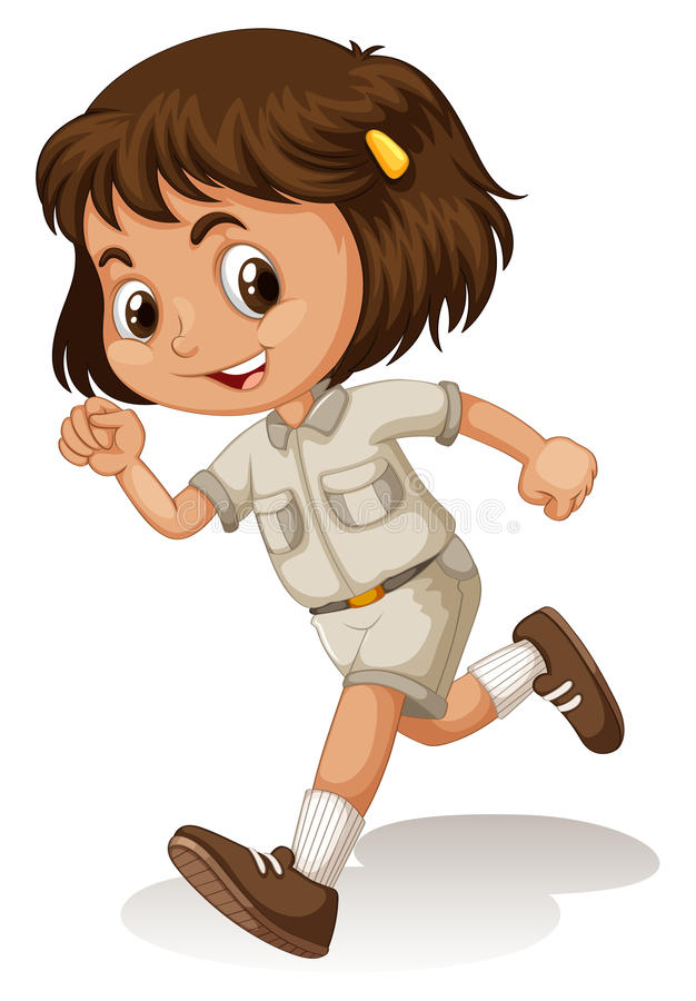 Little girl in scout uniform royalty free illustration