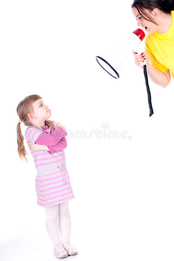 Little girl and screaming mother with megaphone