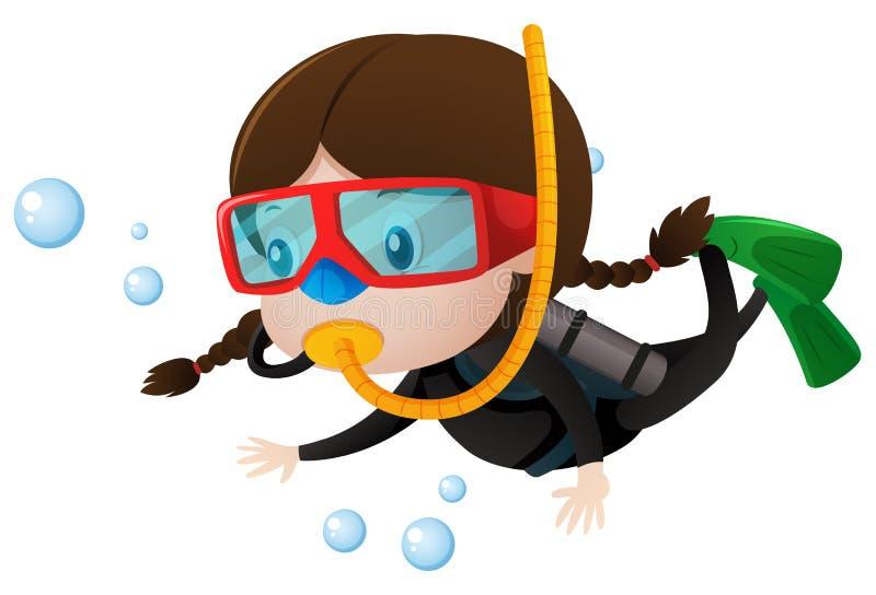 little girl scuba diving underwater stock vector illustration of rh dreamstime com scuba diver clipart images cartoon scuba diver clipart