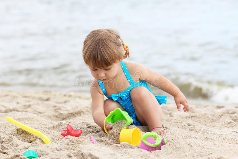 Little Girl  On The Sea Stock Images