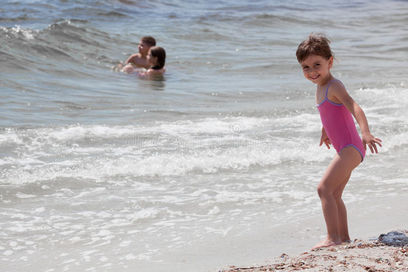 Little girl at sea shore