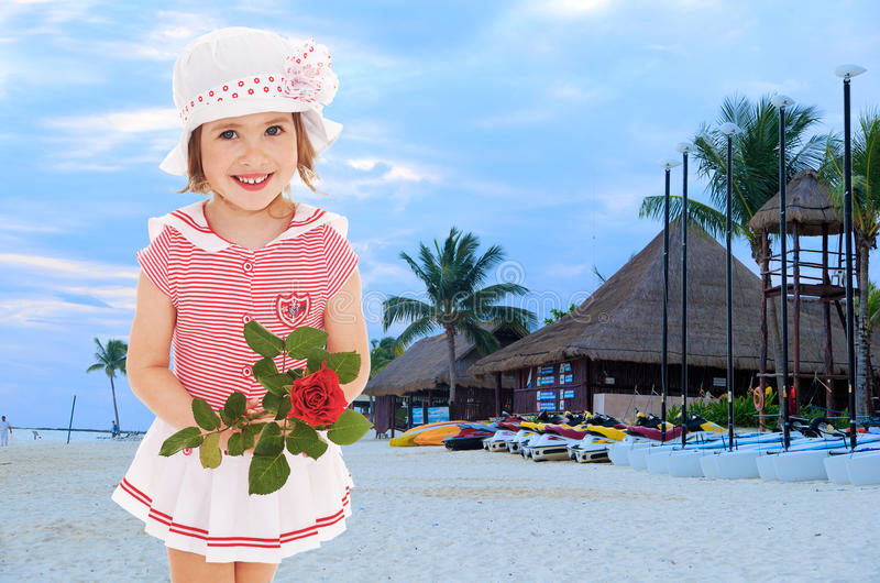 Little girl in a sea suit royalty free stock photos