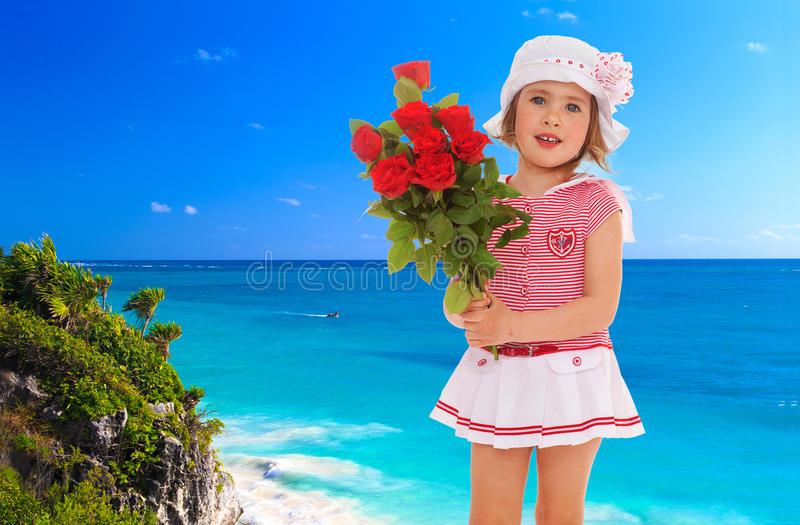 Little girl in a sea suit stock photo