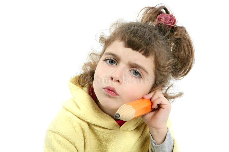 Download Little Girl Serious With Big Pencil In Hand Stock Image - Image: 12690443