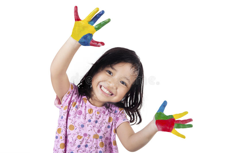 Little Girl Showing her Hands Painted royalty free stock photo