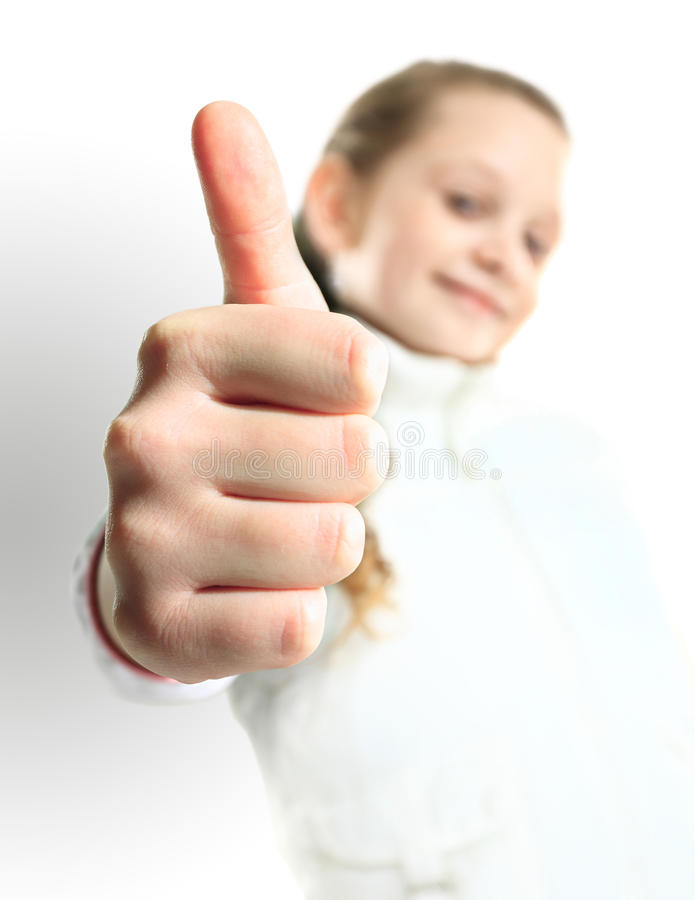Download Little Girl Showing The Thumb Stock Photo - Image: 32691076