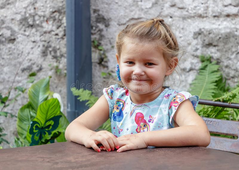 Little girl and emotion royalty free stock photo