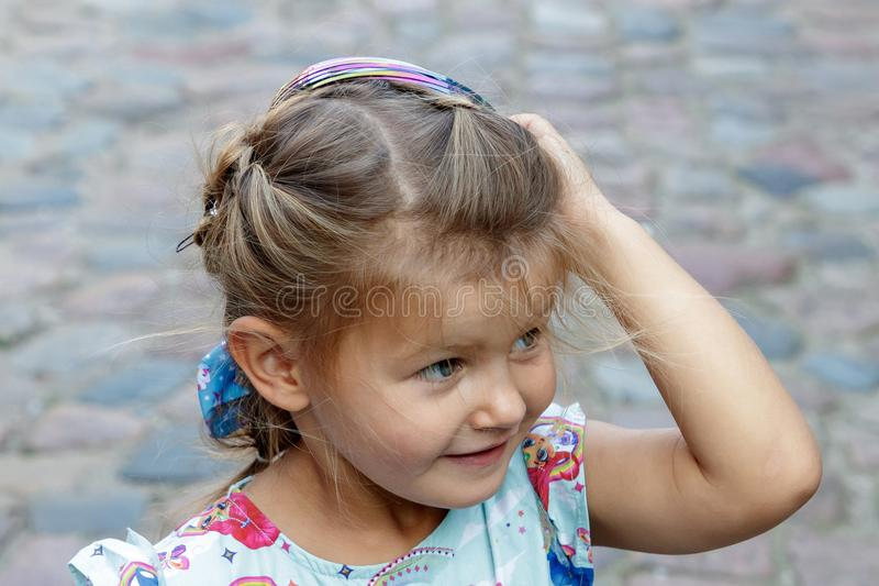 Little girl and emotion royalty free stock photography
