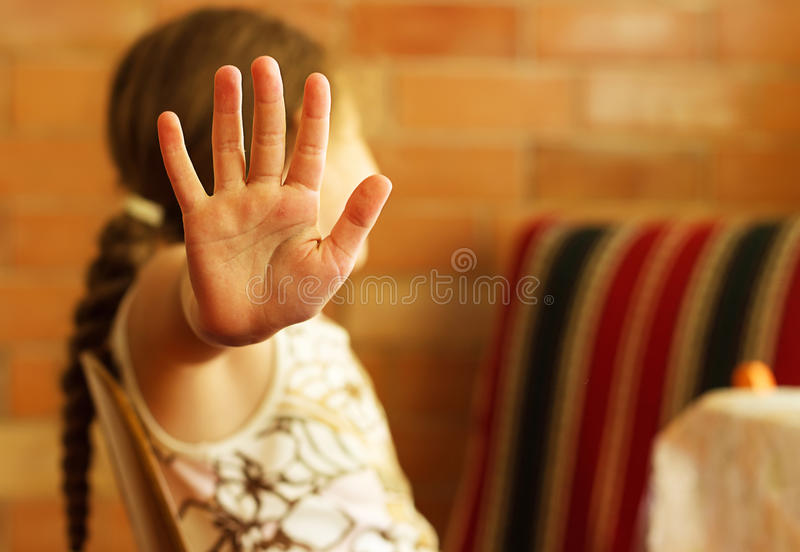Little girl shows stop royalty free stock images