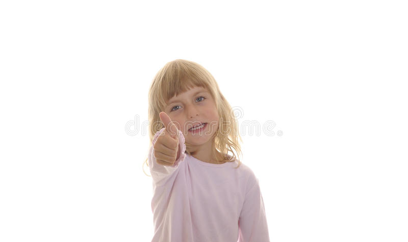 Little Girl Shows Thumb Up Stock Photos