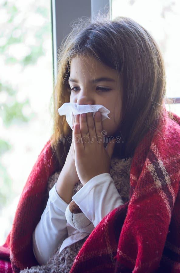 Little Girl Sick stock image