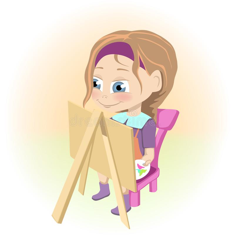 Happy little girl drawing picture on easel vector illustration