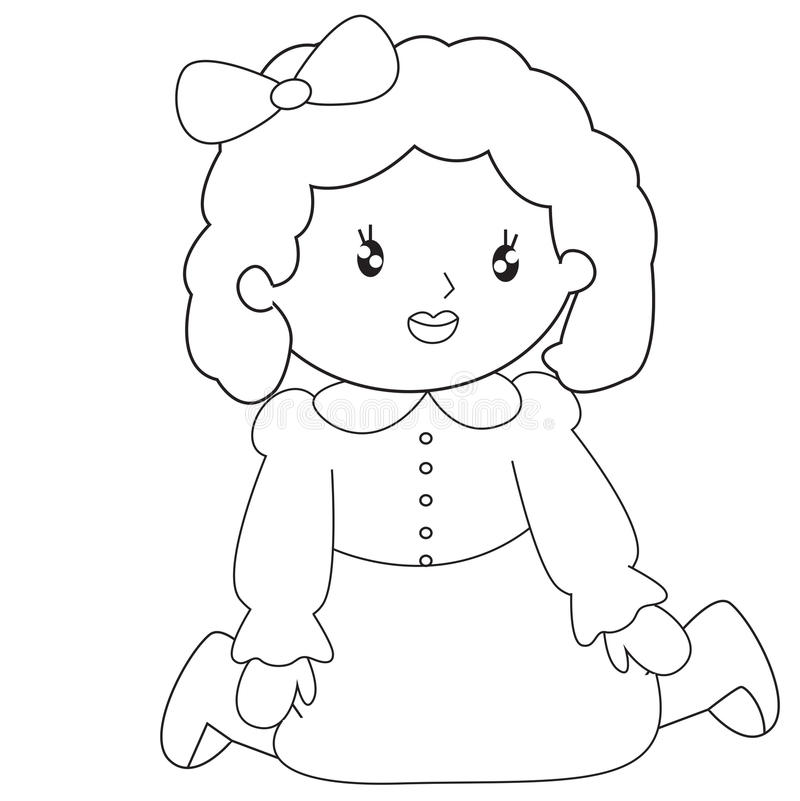 Little Girl Sitting Coloring Page Stock Illustration Image 53482141