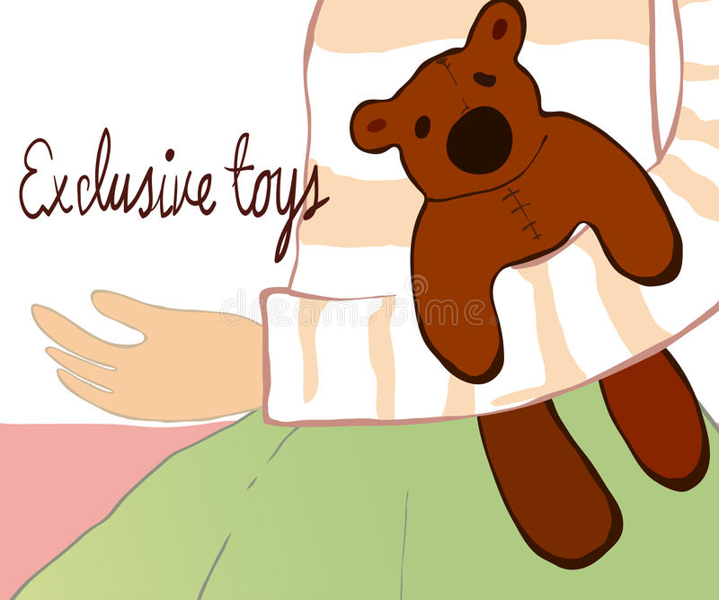 Little girl sitting with her teddy bear stock illustration