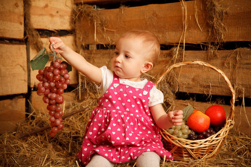 Download Little Girl Is Sitting On Pile Of Straw With Grape Stock Photo - Image of female, cheerful: 12729314