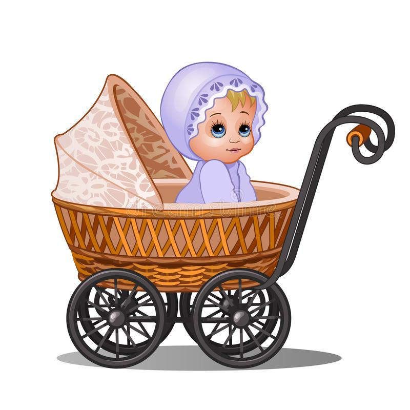 Little girl sitting in a vintage stroller isolated on white background. Vector cartoon close-up illustration. vector illustration