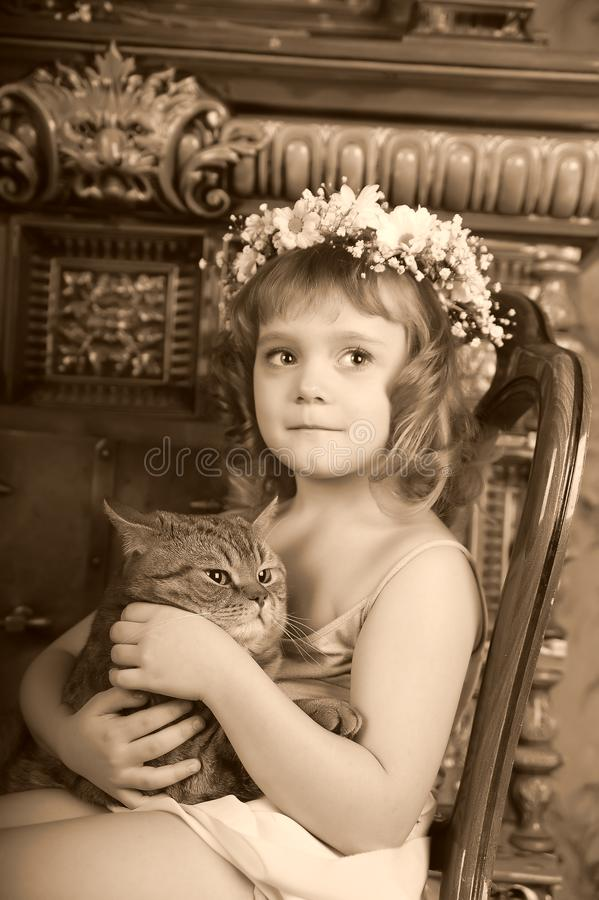 Little girl sitting with a wreath of flowers on her head with a big fat cat stock image
