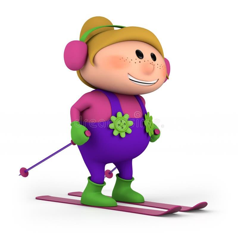 Little Girl Skiing Royalty Free Stock Photos
