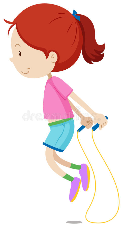 Little girl skipping the rope stock illustration