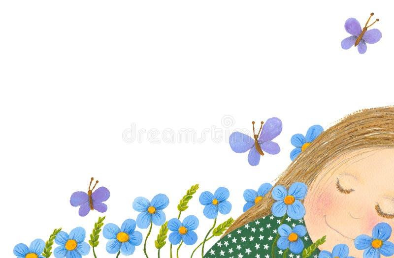 Little girl sleeping in the garden stock illustration