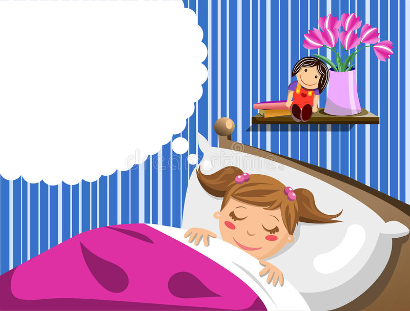 Download Little Girl Sleeping And Having Dreams Stock Vector - Image: 31412330