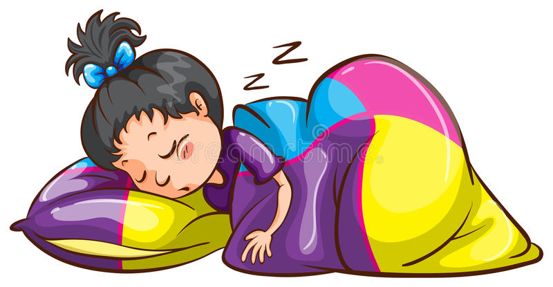 A little girl sleeping soundly vector illustration