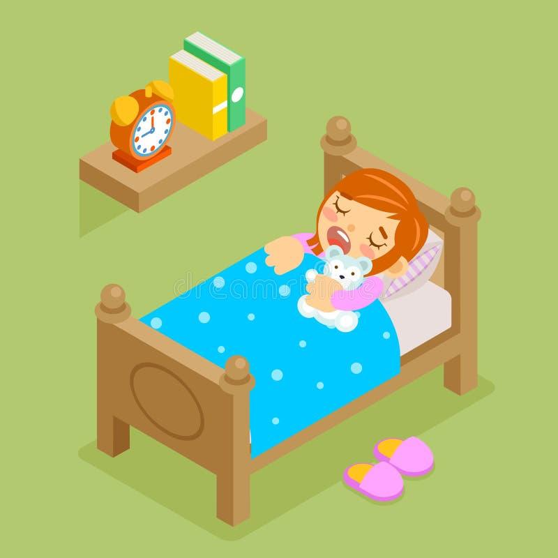 Little girl sleeping with teddy bear. Isometric stock illustration