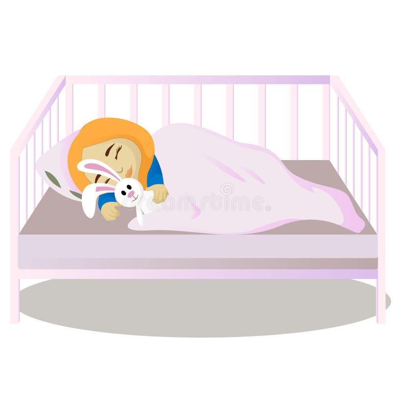Little girl sleeps in her bed stock illustration
