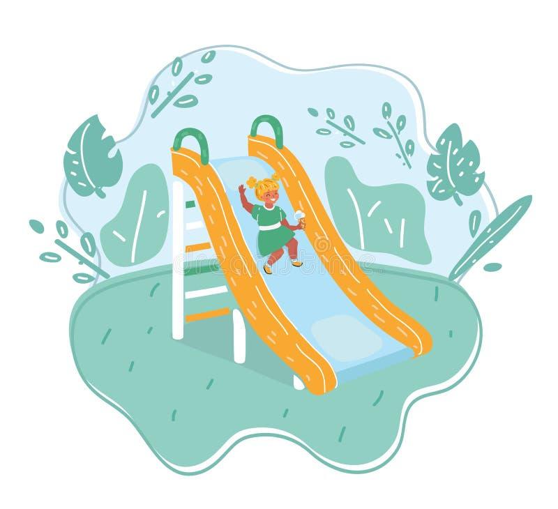 Little girl on the slider. Little girl playing on the slider royalty free illustration