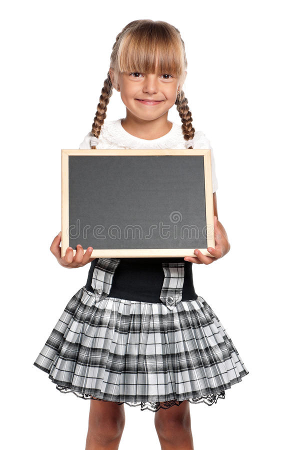 Little girl with small blackboard
