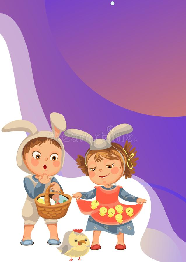 Little girl smile holding in her dress chickens, baby in apron with rabbit ears headband, happy boy easter bunny mask royalty free stock photos