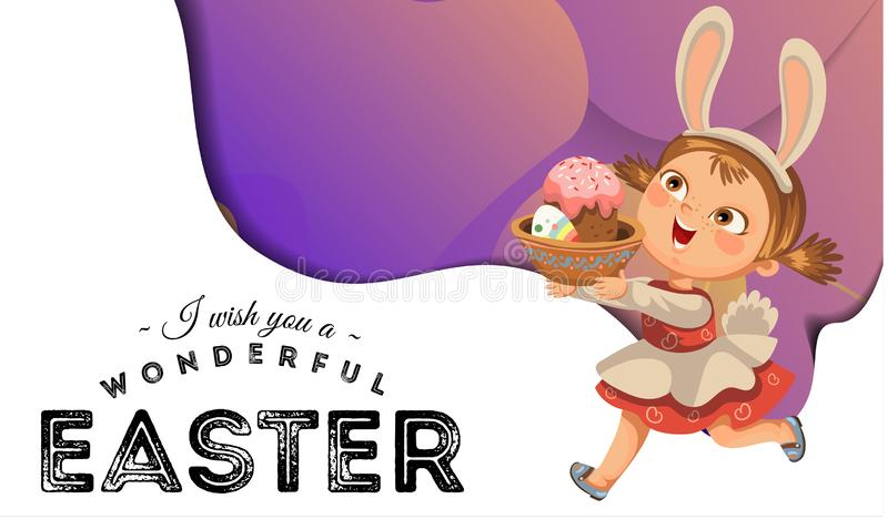 Little girl smile running hunting decorative chocolate egg in easter bunny costume ears and tail vector illustration stock photo