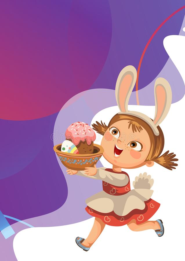 Little girl smile running hunting decorative chocolate egg in easter bunny costume ears and tail vector illustration stock image