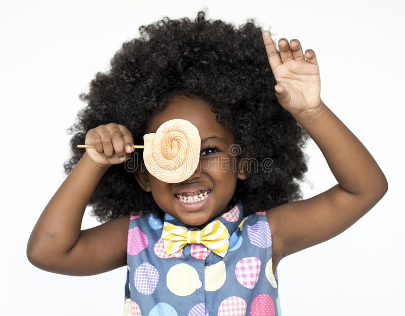 Little Girl Smiling Happiness Studio Portrait Sweet Lollipop stock photos