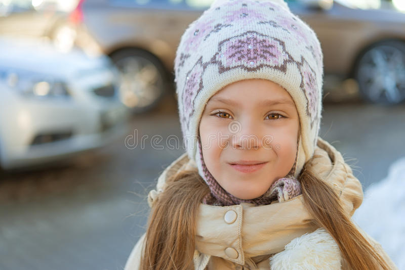 Download Little girl smiling in hat stock image. Image of interior - 33569601