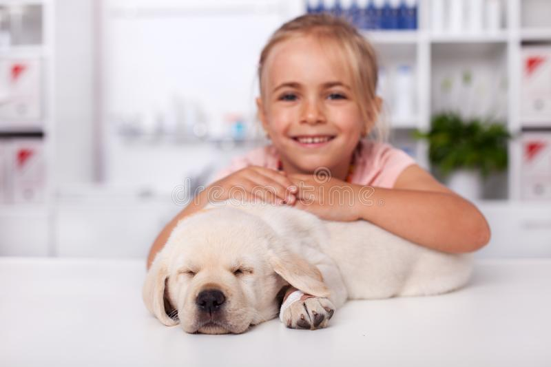 Little girl at the veterinary doctor with her puppy dog asleep on the examination table. Little girl smiling at the veterinary doctor office with her puppy dog royalty free stock image