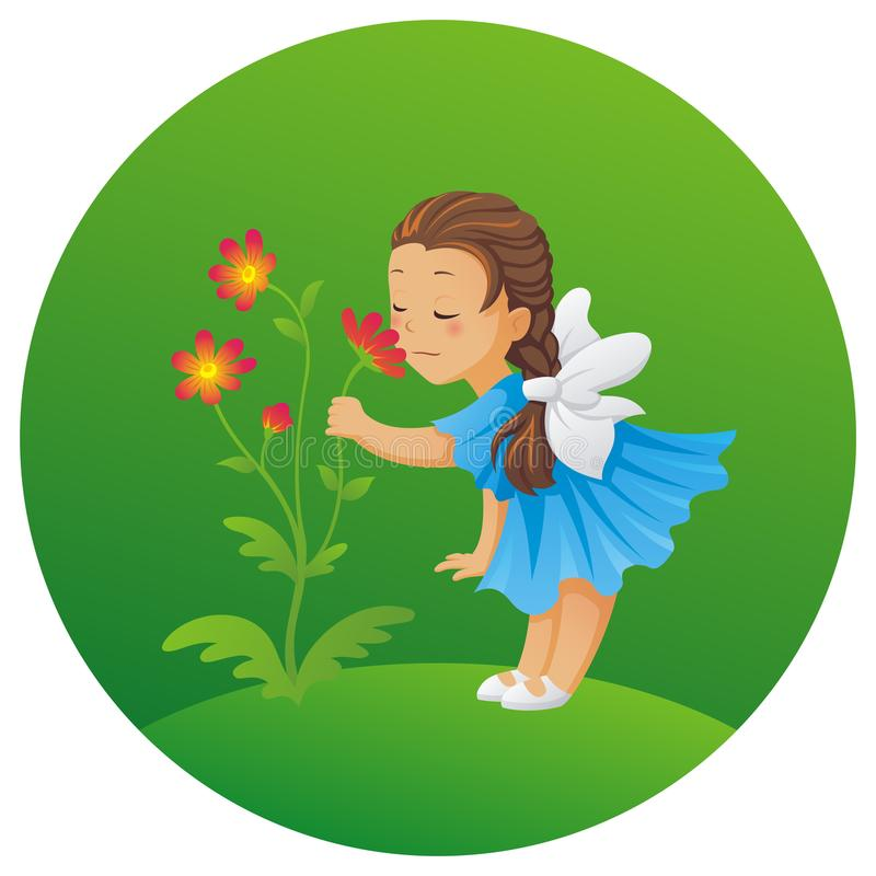 Little girl sniffing a flower royalty free illustration
