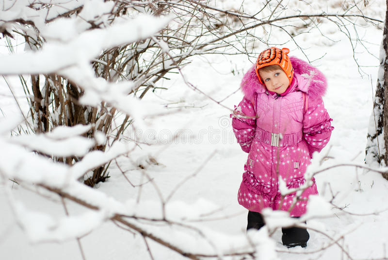 The little girl in the snow stock image