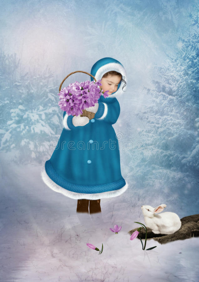 Little girl with snowdrops stock photos