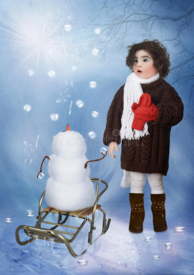 Download Little girl and snowman stock image. Image of winter - 83522567