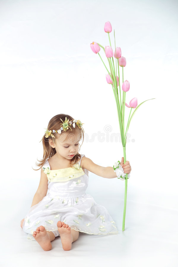 Little Girl In Spring Flower Dress Stock Images