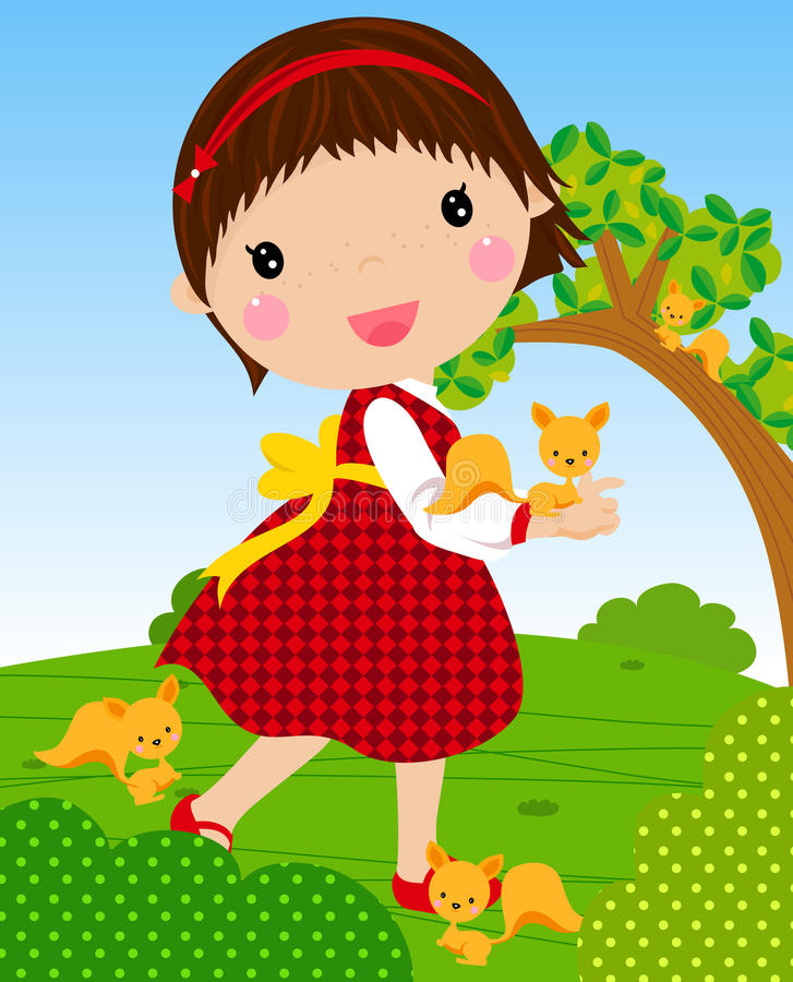 Little girl and squirrel stock illustration