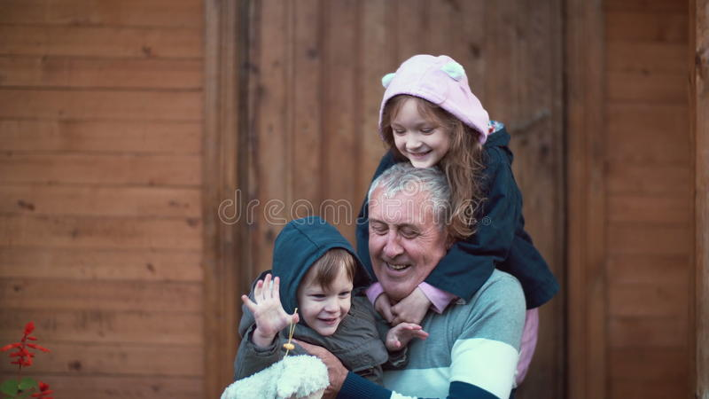 Little girl standing behind old man. Granddaughter hugs grandfather, grandson running to they. Boy sits on man knees. 4K royalty free stock photos