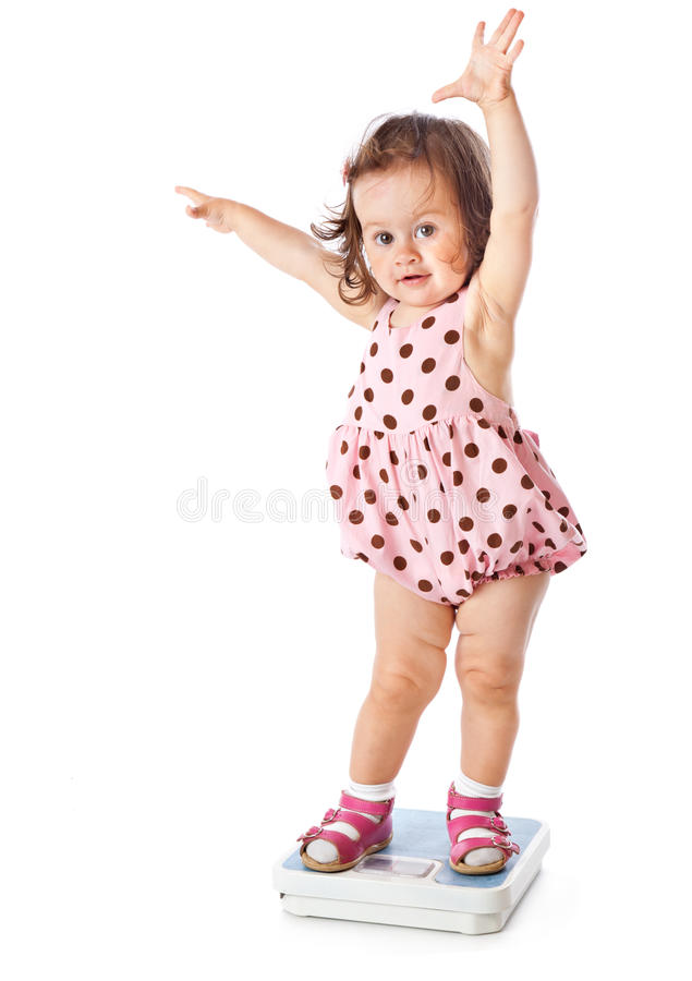 Download A Little Girl Is Standing On The Scales Royalty Free Stock Photo - Image: 20567425