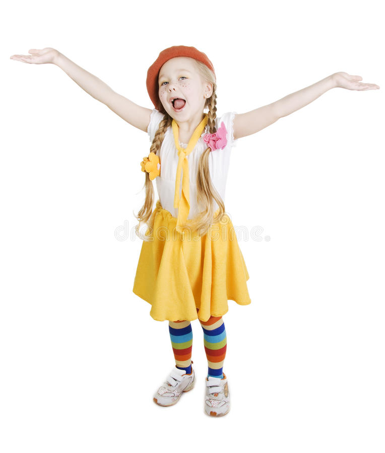 Little Girl Standing And Sing. Stock Photography