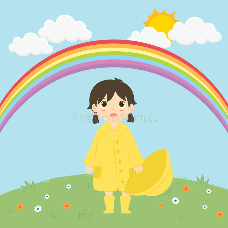 Little Girl Standing Under The Rainbow Vector Illustration royalty free illustration