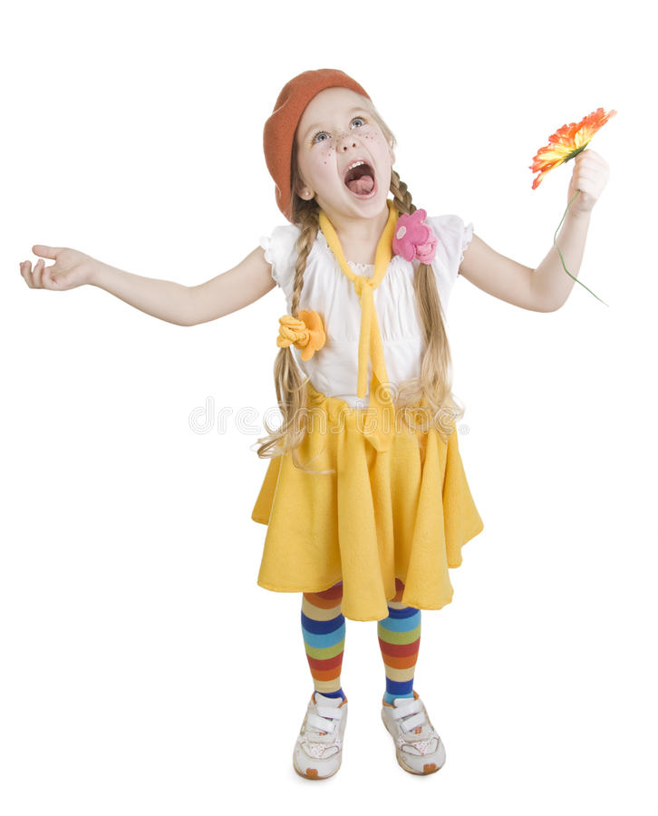 Little girl standing and yell royalty free stock photos